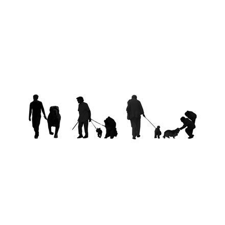 Silhouettes chiens et maîtres