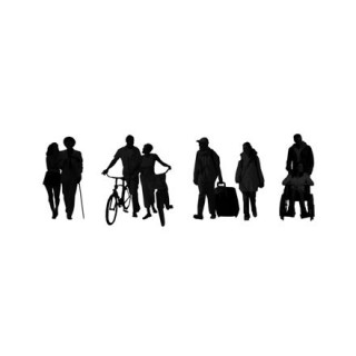Silhouettes couples en mouvement