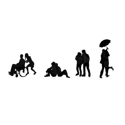 Silhouettes couples amoureux