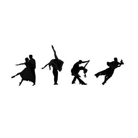 Silhouettes couples de danseurs