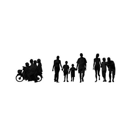 Silhouettes familles en voyage