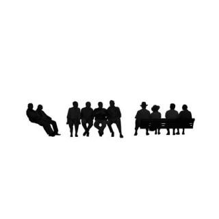 Silhouettes de groupes assis